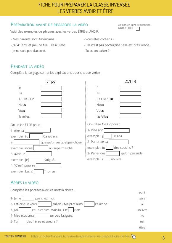 Conjuguer les verbes être et avoir au présent - A1 1