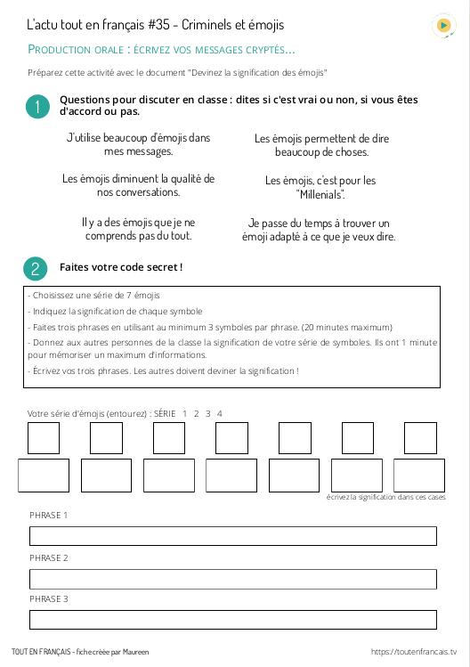 L'actu tout en français 35 : les émojis des criminels 2