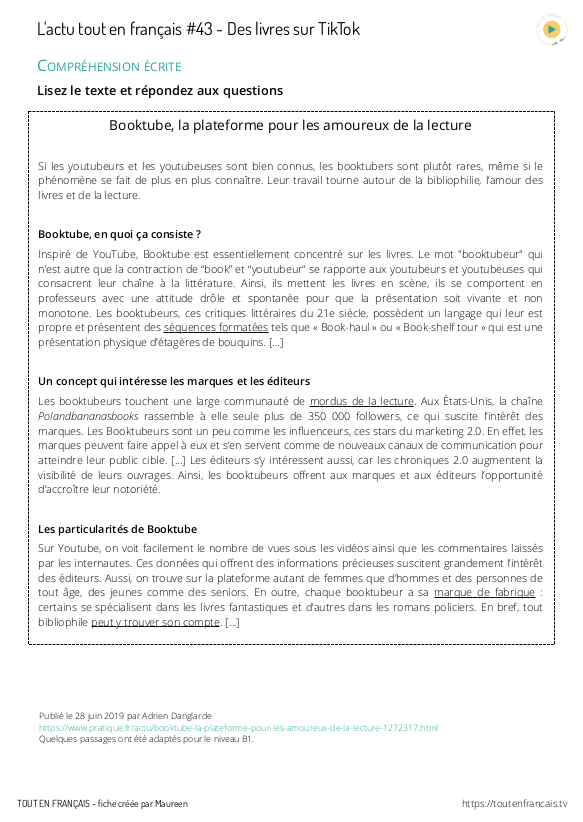 compréhension orale B1 pdf